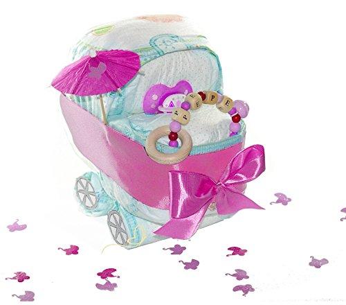 dubistda© Windeltorte Windelwagen rosa mit Name - inkl. Greifling personalisiert/Geschenk zur Geburt / 21-teilig