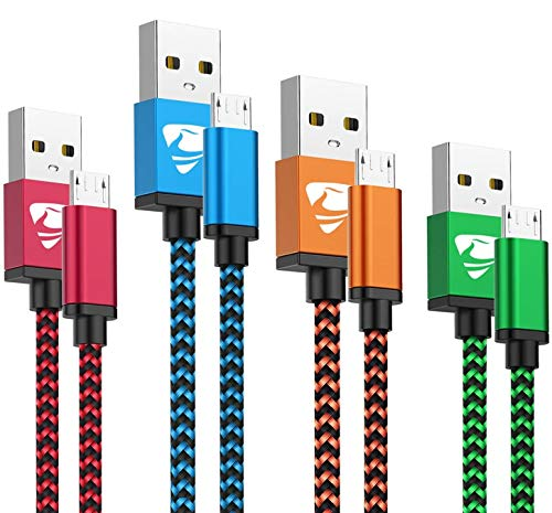 Cable Micro USB Aioneus 4Pack [0.5M 1M 1.5M 2M] Carga Rápida Cable Android Nylon Trenzado Cable Cargador Movil para Samsung S5/S6/S7/J6/J7 Huawei Nokia Nexus Sony Tablet PS4 Kindle