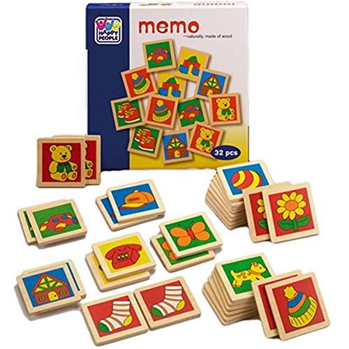 Happy People 60511 - Memo con Tessere in Legno e Disegni Colorati, 32 pz, 20 cm