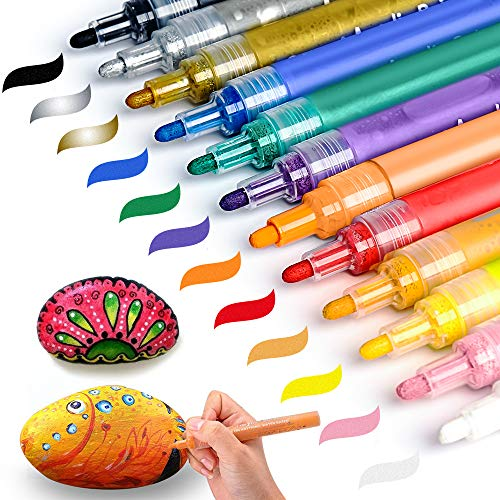Acrylic Paint Pens for Rock Painting, Wood, Glass, Metal, Ceramic, Stone, Drawing Pebble, Gift Card Writing, Easter Egg Christmas Ball Craft Supplies SAKEYR 12 Colours Paint Marker Pens