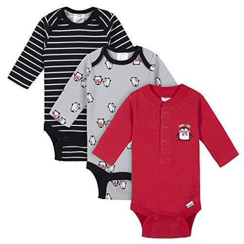Gerber Baby Boys 3-Pack Long Sleeve Thermal Onesies Bodysuits, Penguins, Newborn