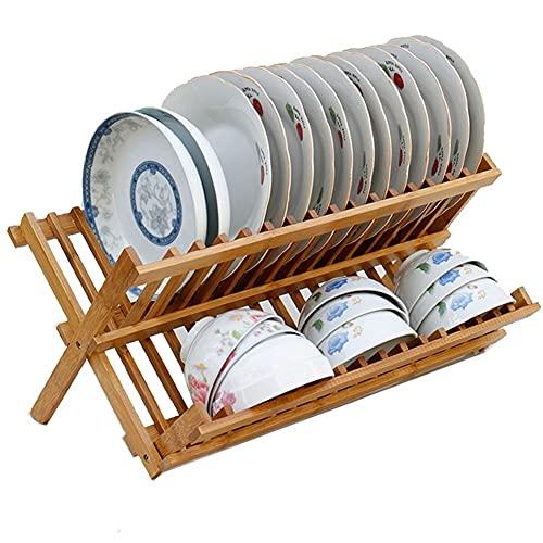QIAOLI Rejilla para Secar Platos de 2 Capas Estante de Secado de Platos de bambú con Utensilios Conjuntos de Cubiertos Conjuntos de Plegado Grande Soporte de Secado para Cocina,escurridor Plegable