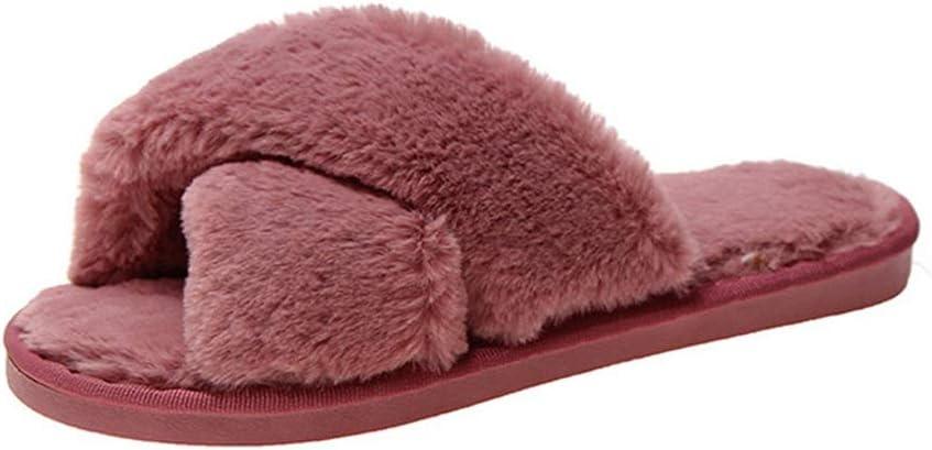 famous ZJYZJQ Ladies' Fluffy Factory outlet Cross Slippers Memory Toe House Open Foam