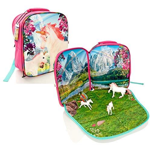 MOJO Fantasy Play Scene Backpack & 3 Unicorn/Pegasus Figures Playset - Childrens Play Mat