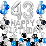 Risehy 43rd Birthday Decorations Birthday Party Supplies Set- Foil Happy Birthday Banner Foil Balloons Number 43 and Star Shape Balloons 43 pcs Latex Balloons Silvery and Blue