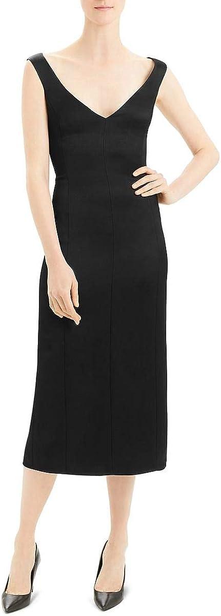 Theory Womens Satin V Neck Cocktail Dress