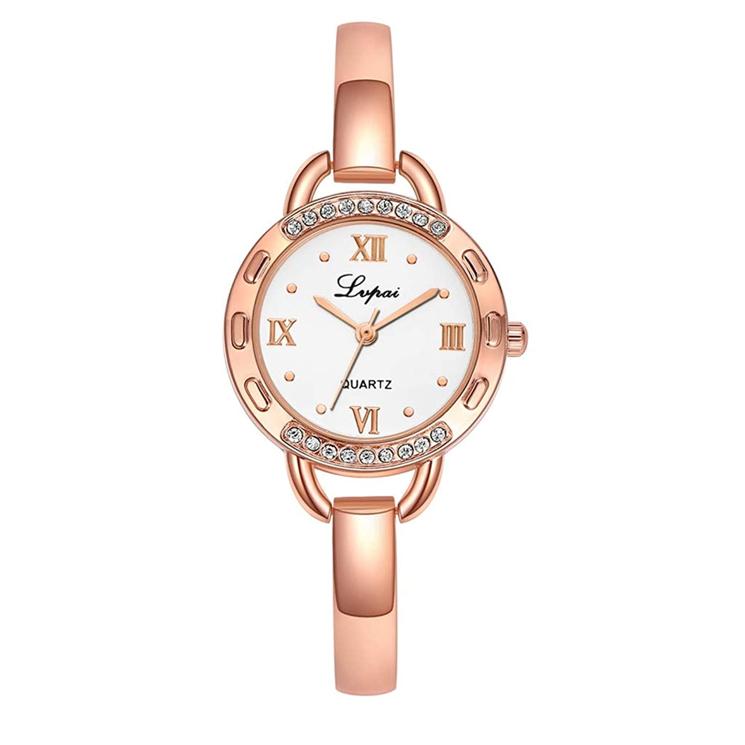 LUCAMORE Women's Exquisite Quartz Watch Roman Numeral Dial Stainless Steel Band Casual Business Wrist Watch