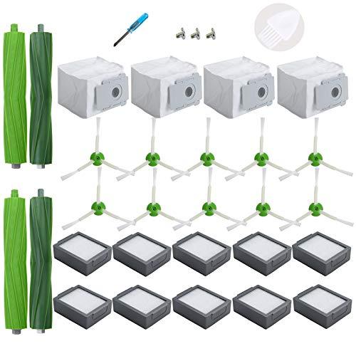 LOVECO Kit de Accesorios compatible con iRobot Roomba Seire i i3+ i4+ i6+ i7+ i8 Plus Robot aspirador(10 Filtros,10 Cepillos lateral ,2 Cepillos de Goma,4 Bolsas de Polvo )