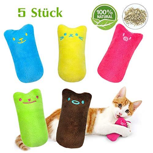 workbees Katzenminze Spielzeug, Katzen Kauen Kissen | Knuddelkissen mit extra viel natürlichem Catnip zum Kuscheln und Spielen | geeignet für alle Katzen und Kitten (5 Stück)