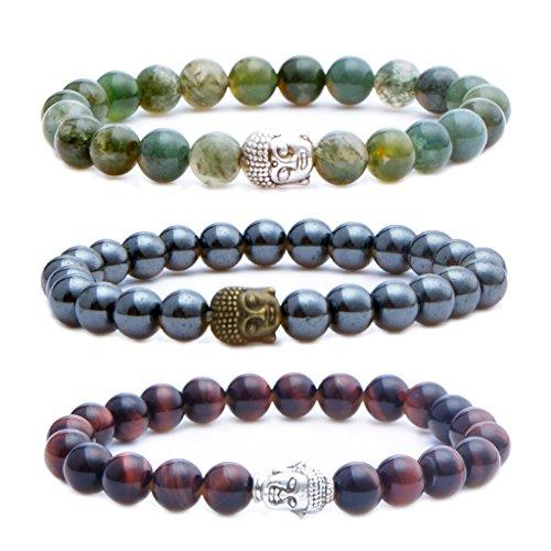 MIKINI Mens Womens Bracelets - Healing Energy Bead, Buddha Mala, Lava Rock Black Matte Agate Picture Jasper, Pack of 3 (Red Tiger Eye Stone/Indonesia Agate/Hematite)