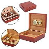 Mini Humidor de Cigarrillos para Viajes, portátil, humidor de Cigarrillos de Madera de Cedro, con humidificador, higrómetro para 20 Cigarrillos – Caja de Madera de Cedro