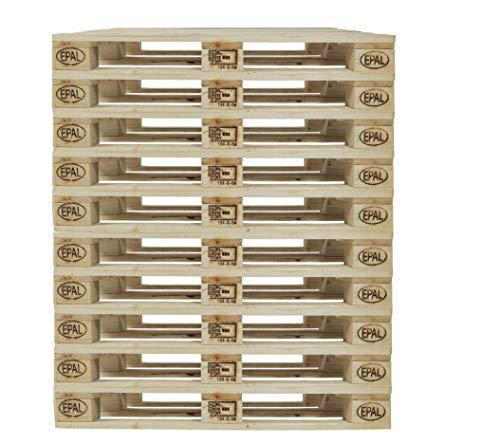 Holtaz Euro-Palette. Satz mit 10 Holzpaletten aus Massivholz Flachpalette (10)