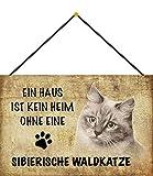 NWFS Katze EIN Haus ist kein Heim ohne eine Sibirische Waldkatze Metallschild Schild Metal Tin Sign gewölbt lackiert 20 x 30 cm mit Kordel