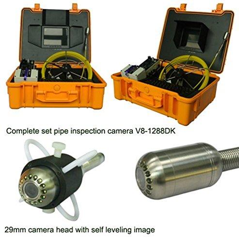 MABELSTAR Cámara de inspección de tuberías de drenaje autonivelante de 20 m con tarjeta SD, DVR, monitor de 8 pulgadas