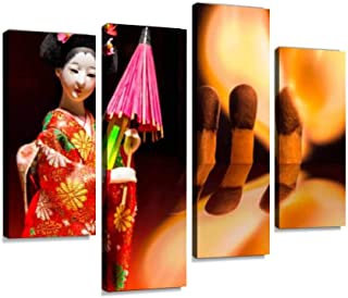 YKing1 Chemical and Nuclear fire Flaming Heart from matchsticks and a Kimono Wall Art Painting Pictures Print On Canvas Stretched & Framed Artworks Modern Hanging Posters Home Decor 4PANEL