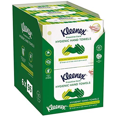 Kleenex Proactive Care, Hygienische Einmal-Papierhandtücher, Box mit Einzelblattausgabe, 3-lagig, Biologisch Abbaubar, 6 x 96 Tücher