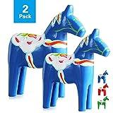 Juego de 2 estatuillas de madera de Dala caballo estatua adornos de madera casa artesanía nacional sueca decoración rojo/azul (azul)