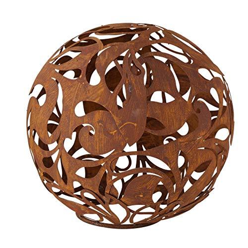 CasaJame Metall Deko Kugel braun Rost verschlungene Ornamente 27x27cm