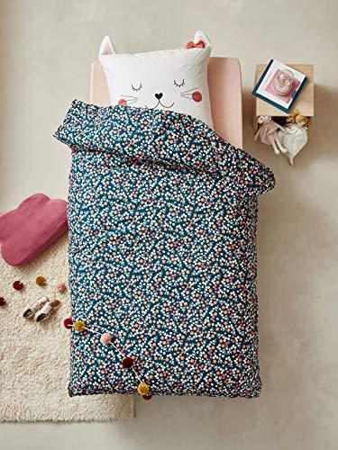 Vertbaudet - Juego de funda nórdica y funda de almohada para niños, diseño de gato, multicolor, 140 x 150 cm
