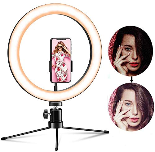 OMID Ring Light, Upgraded LED Ring Light with Tripod Stand & Phone Holder Selfie 10 inch Desktop Ring Light for Video, Live Stream, Makeup, Vlog, Ring Light with 3 Light/12 Brightness Dimmable