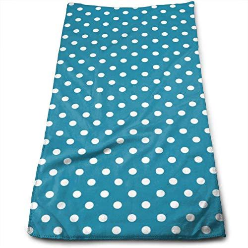 Toallas de mano con lunares blancos sobre fondo azul para baño, natación, yoga, gimnasio, microfibra suave absorbente, unisex, 27.56 x 30 cm, color azul marino, lunares simples pequeños S