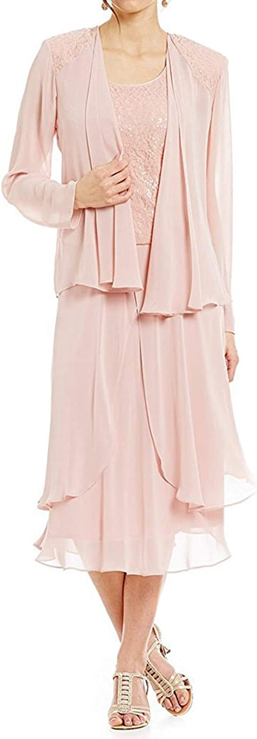Mother of The Bride Dress with Chiffon Jacket Long Sleeves Formal Party Gown