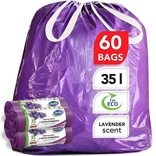 Stella pack bolsas de basura ultrarresistentes y flexibles [60 unidades] Ecológicas y Reciclables - Hechas de plástico de desecho [Aroma de lavanda y color morado - Tipo de cordón - 35 Litros]