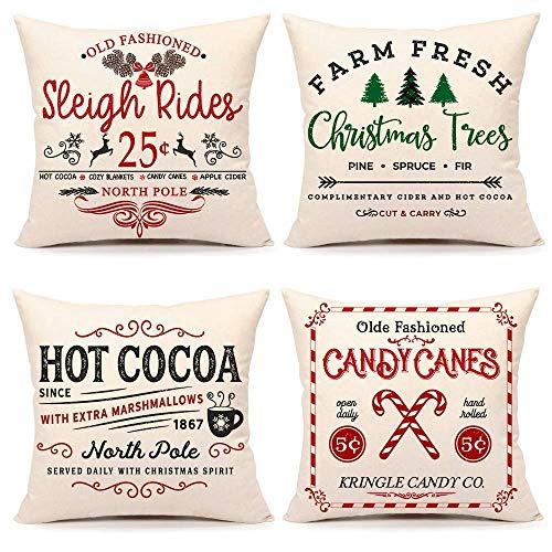 LONLYTISA Emotion - Juego de 4 fundas de almohada (40 x 18 cm), diseño de Navidad rústico para sofá y sofá (trineo paseos, árbol fresco de granja, cacao, bastones de caramelo)