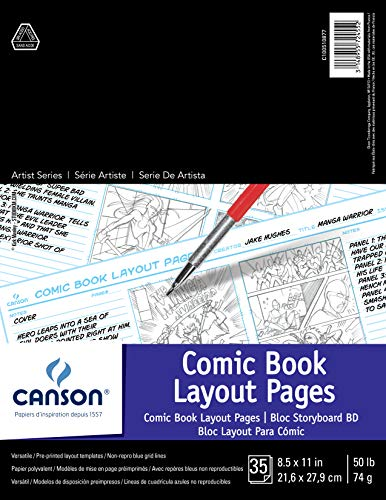 CANSON 100510877 Comic Book Layout Pages Paper Pad with Preprinted, Non-Reproducible, Blue Lines, 50 Pound, 8.5 x 11 Inch, 35 Sheets