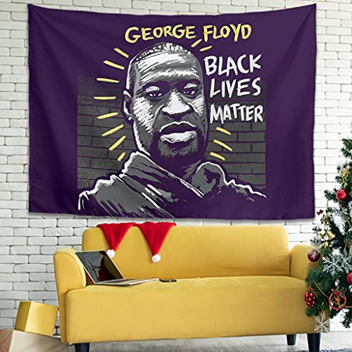Wandlovers Tapiz de pared con texto 'Jahrgang George Floyd', color negro, 150 x 150 cm