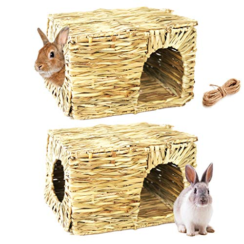 2-Pack Hand Crafted Extra Large Grass House for Rabbits, Guinea Pigs and Small Animals; Edible Natural Grass Hideaway; Foldable Toy Hut with Openings; Safe and Comfortable Playhouse for Play and Sleep