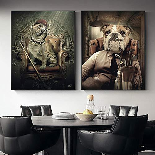 WKHRD Perro de la Mafia Sentado en el sofá con Tacos de Billar Póster de Arte Moderno e Impresiones Cuadro de Pared Decoración del hogar Pintura en Lienzo para Sala de Estar / 40x50cmx2-Sin Marco