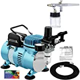 Master Airbrush Multi-Purpose Airbrushing System Kit with Siphon Feed Dual-Action Airbrush 0.35 mm Tip, 3/4 oz Fluid Cup, Pro 1/5 hp Cool Runner II Dual Fan Air Compressor - Hose, Holder, How To Guide