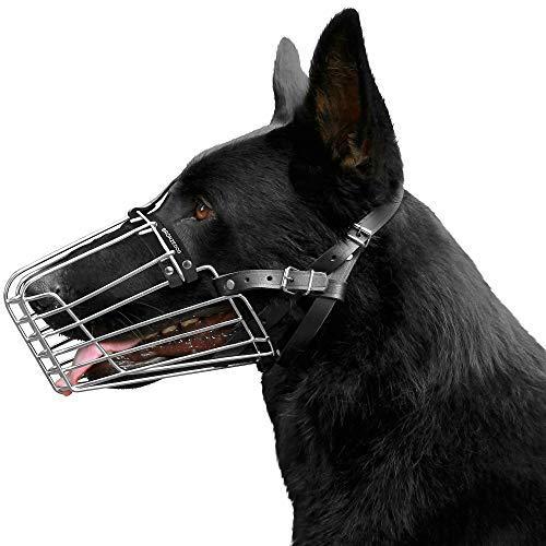 BRONZEDOG German Shepherd Dog Muzzle Wire Metal Basket Adjustable Leather Muzzle for Large Dogs (Size 1)