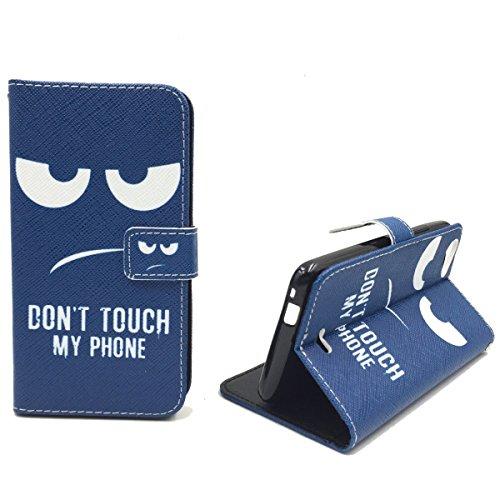 König Design Handyhülle Kompatibel mit Wiko Rainbow Jam Handytasche Schutzhülle Tasche Flip Hülle mit Kreditkartenfächern - Don't Touch My Phone Weiß Dunkelblau