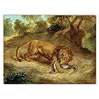 Eugene Delacroix《ライオンとケイマン、1855》ウォールアートポスターHdプリントフォトキャンバスペインティングリビングルームの写真家の装飾-50x75CMフレームレス