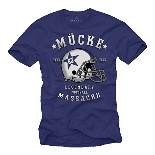 Mücke 63 - Herren T-Shirt - Football Helm Spencer Tracy Blau XXXL