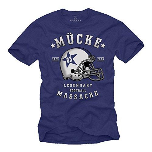 Mücke 63 - Herren T-Shirt - Football Helm Spencer Tracy Blau XL