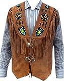 Classyak - Hombre Chaleco de Cuero con Flecos y Flecos Occidental Indio