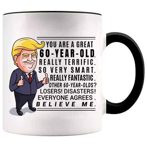 Image of the YouNique Designs Donald Trump 60th Birthday Mug, 11 Ounces, 60 Years Old Birthday Cup For Men and Women