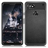 MOBITUSSION V Series Anti Slip Shock Resistant 360 Degree Protection Leather Texture Rugged Armour TPU Case for Google Pixel 2 XL (Black)