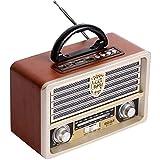 QAZ Radio FM de Madera Retro Vintage, Radio Am SW, Altavoz inalámbrico Bluetooth 4.0, Reproductor de MP3 con Disco en U con Tarjeta TF, Antena Plegable, Conector para Auriculares de 3,55 mm,A