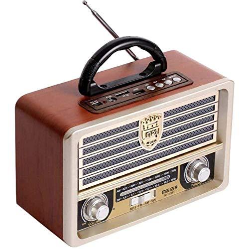 QAZ Radio FM de Madera Retro Vintage, Radio Am SW, Altavoz inalámbrico Bluetooth 4.0, Reproductor de MP3 con Disco en U con Tarjeta TF, Antena Plegable, Conector para Auriculares de 3,55 mm