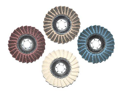Set mit insgesamt 4 Stück 125mm Polierfächerscheiben. Je 1x Fein/Fine, Mittel/Medium, Grob/Coarse und Filz Polierfächerscheibe. 22.23mm für Winkelschleifer.