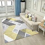 Xiaosua alfombras Salon Modernas Amarillo Alfombra de Estar Alfombra Amarilla Rayas Plegables Soft Alfombra Duradera habitacion niña 200x250cm alfonbras de dormitorios 6ft 6.7''X8ft 2.4''