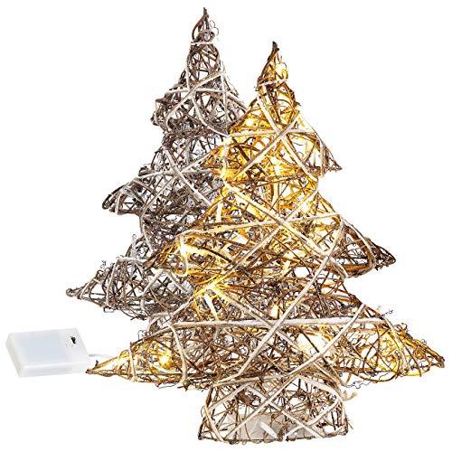 Lunartec LED Deko-Tanneäbaume: 2er-Set handgefertigte Deko-Weihnachtsbäume mit je 20 warmweißen LEDs (Beleuchteter Dekoweihnachtsbaum)