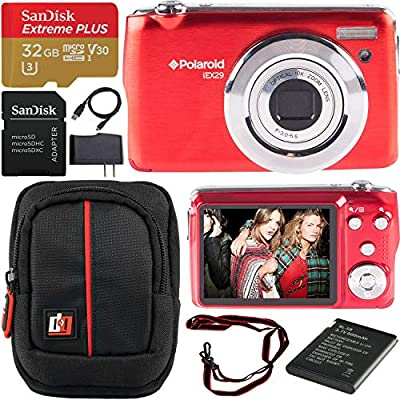 Polaroid iEX29 18MP 10x Optical Zoom Compact Digital Camera (Red) with 720p HD Video Movie Recording Bundle with Deco Gear Camera Bag Case + SanDisk 32GB Extreme Plus MicroSDHC Memory Card w/Adapter by Polaroid