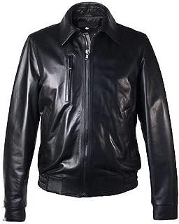Men's Italian Genuine Leather Bomber Jacket Black