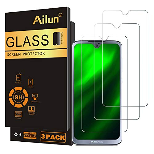 Ailun Screen Protector Compatible with Moto G7 Play 3Pack 9H Hardness Tempered Glass Screen Protector for Motorola Moto G7 Play Bubble Free Anti Scratch Fingerprint Oil Stain Coating Case Friendly