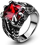 SOMEN TUNGSTEN Men's Stainless Steel Ring Gothic Dragon Claw Design with Red Stone Size 8.5